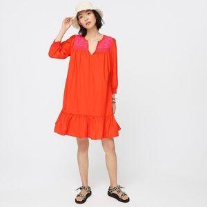 J. Crew Embroidered Popover Ruffle Hem Dress